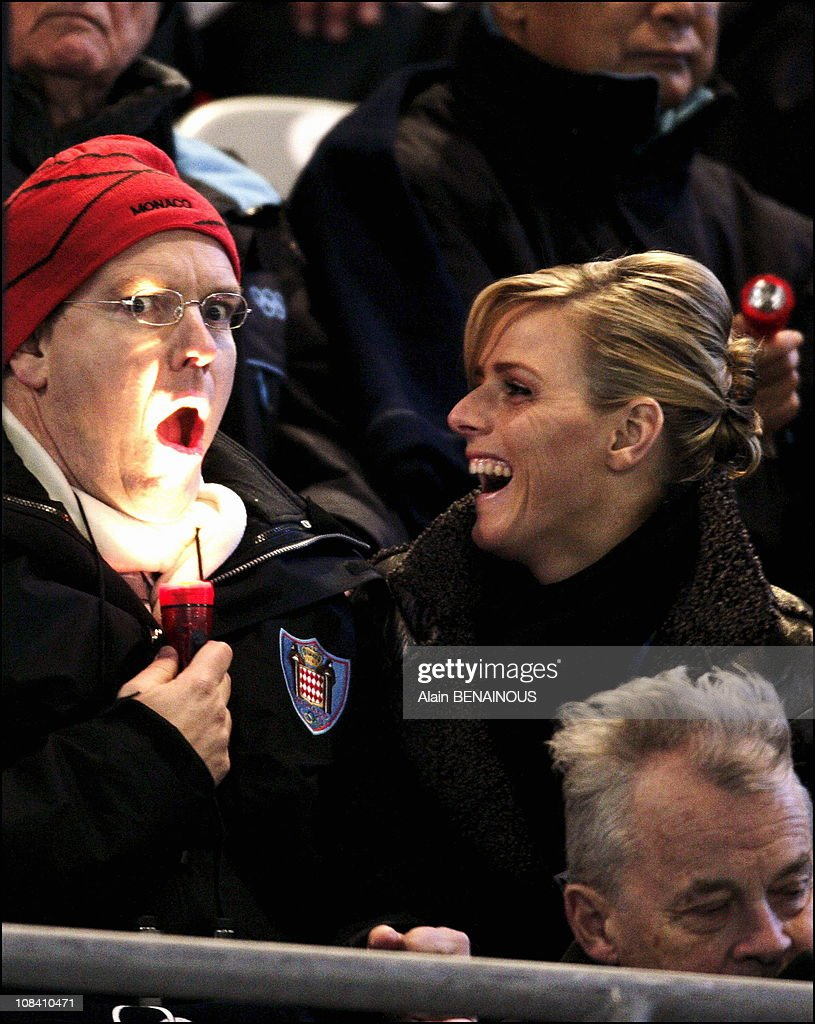 Prince Albert of Monaco with his new girlfriend Charlene Wittstock at the Opening ceremony of the 2006 Winter Olympics in Turin, Italy on February 10, 2006.