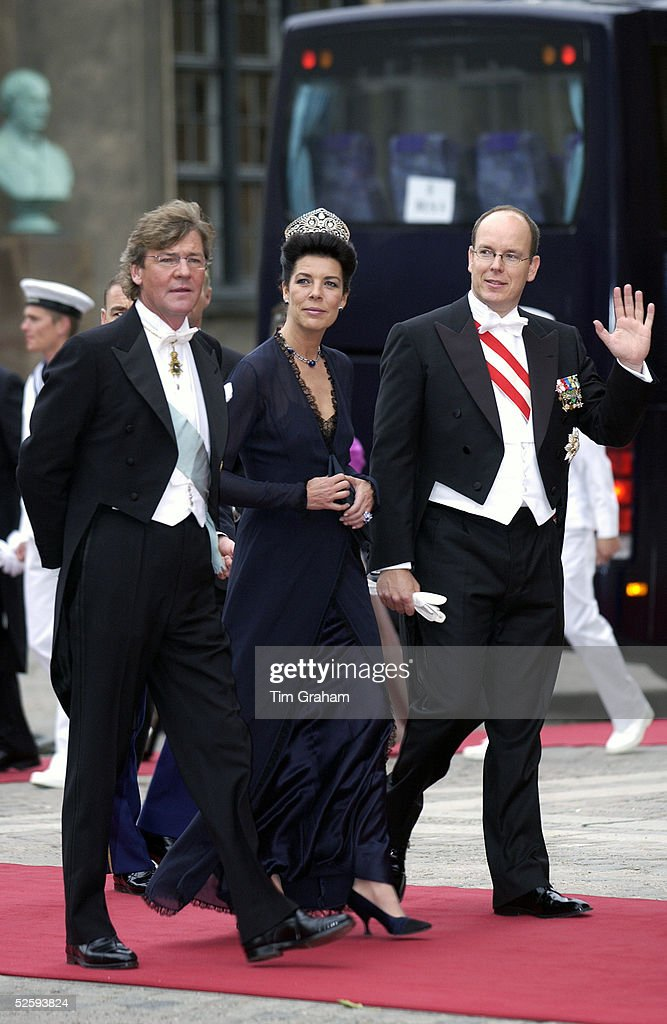 HSH Prince Albert of Monaco with his sister HSH Princess Caroline and her husband Prince Ernst of Hanover at the wedding of the Crown Prince of Denmark May 14, 2004 in Copenhagen, Denmark.