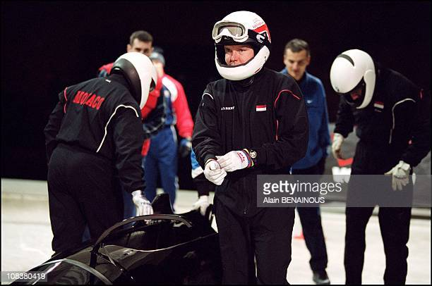 Prince Albert of Monaco's last training session on the Olympic bobsleigh track in Salt Lake City before the winter Olympic games in Salt Lake City,...