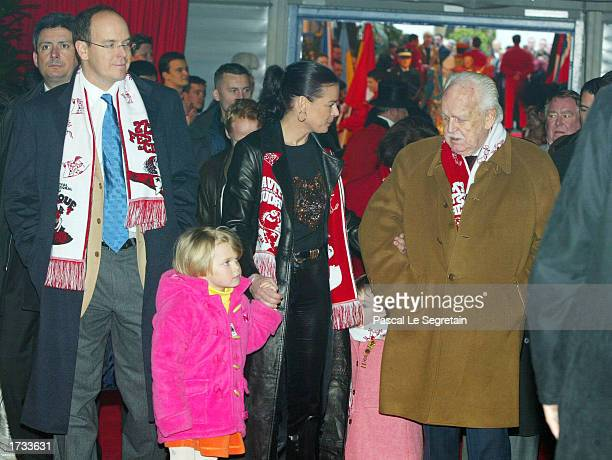 Prince Albert Princess Stephanie with her daughter Camille and Rainier III of Monaco attend the 27th MonteCarlo International Circus Festival January...