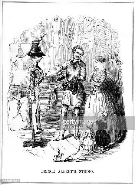 'Prince Albert's Studio' 1843 Cartoon of Prince Albert as an artist with Queen Victoria Illustration from Punch or The London Charivari Volume V