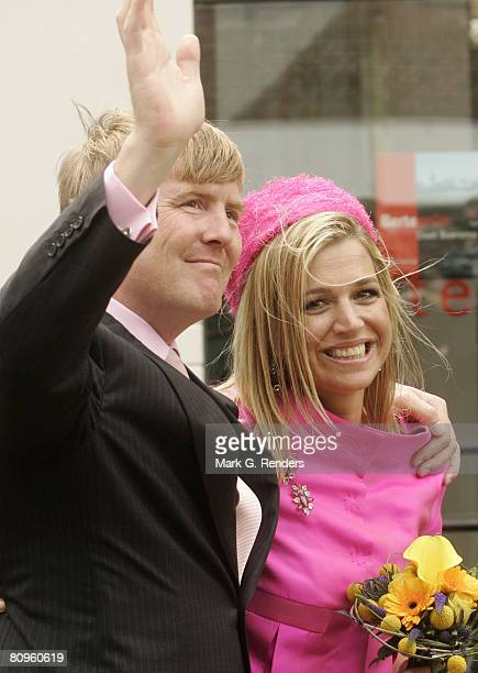 Prince Alexander and Princess Maxima from the Dutch Royal Family greet the crowd on Queensday April 30 2008 in Franeker The Netherlands