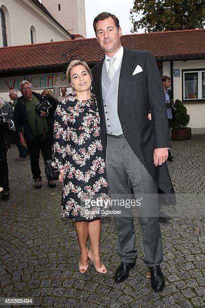 Prince Alexander and Princess Sarah von Isenburg attend the wedding of Maria Theresia Princess von Thurn und Taxis and Hugo Wilson at St Joseph...