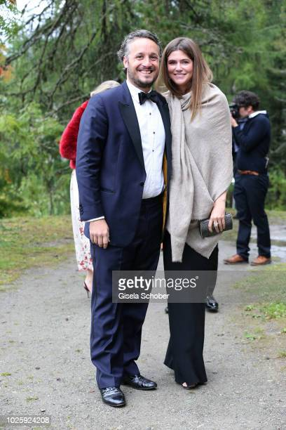 Prince Alexander FuggerBabenhausen and his girlfriend Gabriella Stoudemire during the wedding of Prince Konstantin of Bavaria and Princess Deniz of...