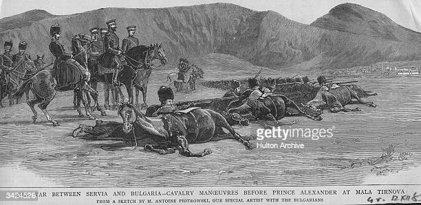 Prince Alexander I of Battenburg observes cavalry manoeuvres during the war between Serbia and Bulgaria.