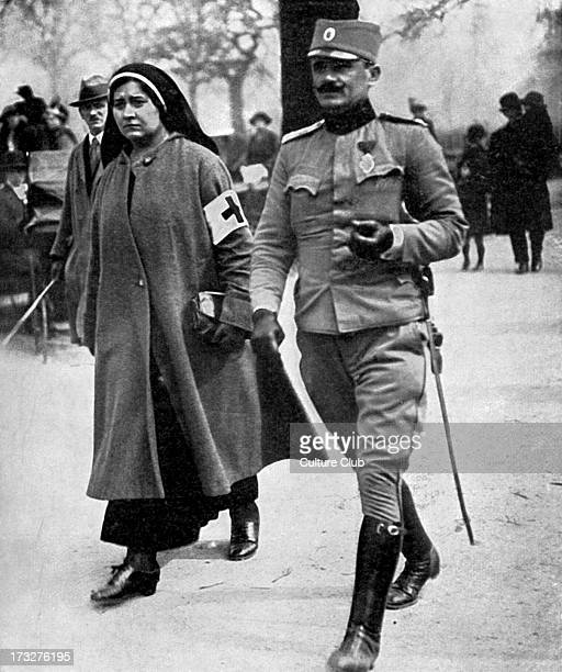 Prince Alexander of Serbia in Hyde Park London during World War 1 April 1916 Accompanied by a Serbian nurse