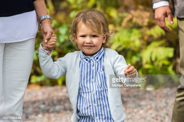 Prince Alexander of Sweden attend the inauguration of Prince Alexander's viewpoint at the Nynas Nature Reserve on August 23 2018 in Gisesjon Sweden