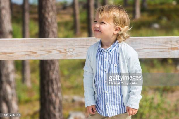 Prince Alexander of Sweden attends the inauguration of Prince Alexander's viewpoint at the Nynas Nature Reserve on August 23 2018 in Gisesjon Sweden