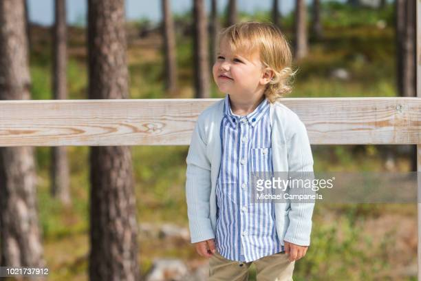 Prince Alexander of Sweden attends the inauguration of Prince Alexander's viewpoint at the Nynas Nature Reserve on August 23, 2018 in Gisesjon,...