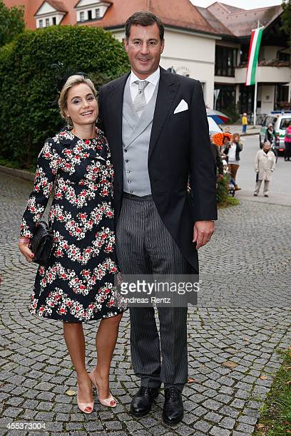 Prince Alexander von Isenburg and his wife Sarah attend the wedding ceremony of Princess Maria Theresia von Thurn und Taxis and Hugo Wilson at the St...