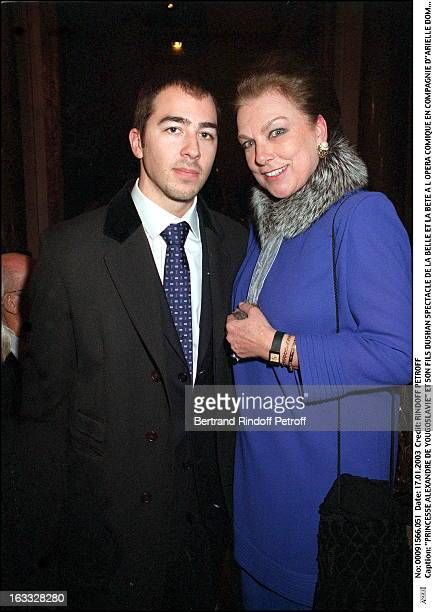 Prince Alexandre De Yougoslavie and his son Dushan play of Beauty and the Beast at the Comic opera of Paris along with Arielle Dombasle