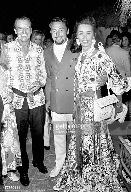 Prince Alfonso of Hohenlohe at a party with Aline Griffith Countess of Quintanilla Marbella Malaga Spain