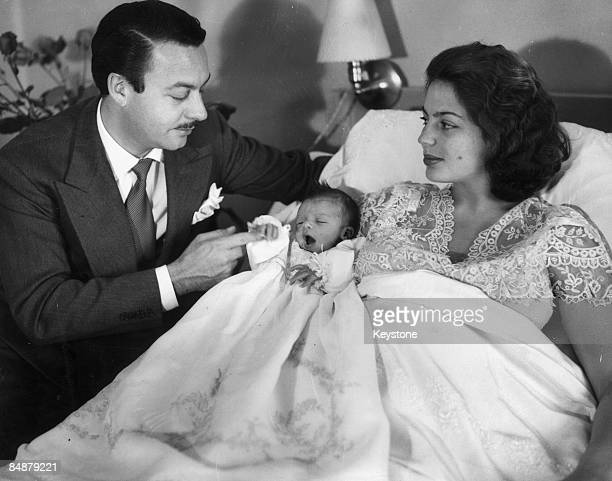 Prince Alfonso of HohenloheLangenburg with his 16yearold wife Ira von Furstenberg and their new son Prince Christoph at the MontChoisi Maternity...