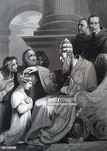 Prince Alfred later Alfred the Great King of Wessex kneeling before Pope Leo III Dated 9th Century