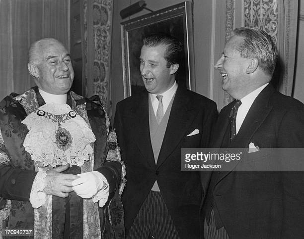 Prince Alfred of Belgium who is heading a Belgian Trade Mission enjoys a joke with the Lord Mayor of London and Edward Heath Secretary of State for...