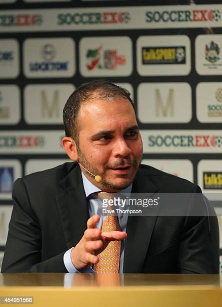 Prince Ali Bin Al Hussein, FIFA Vice-President, is interviewed on stage at the Soccerex European Forum Conference Programme at Manchester Central on...