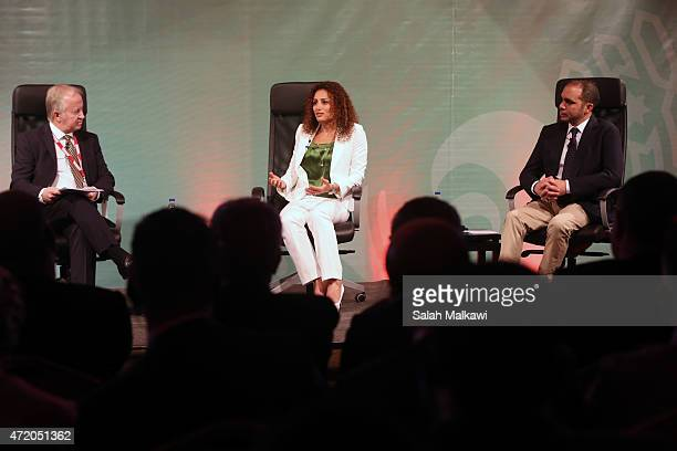 Prince Ali Bin AlHussein and Samar Nassar speak at the discussion studio at the opening of the Soccerex convention the world's largest football...