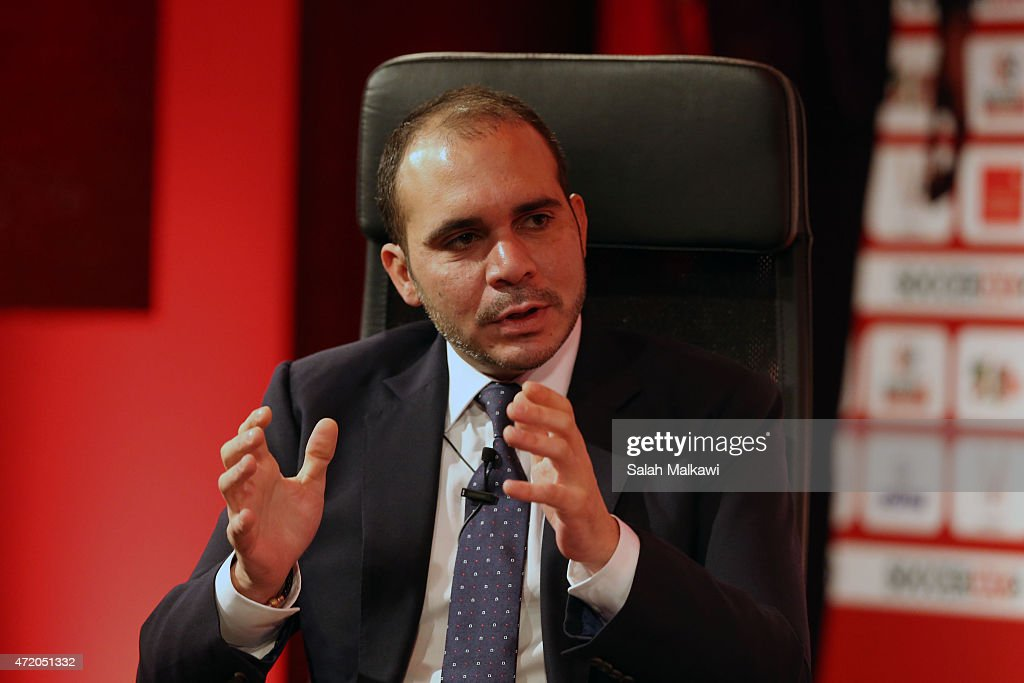 Prince Ali Bin Al-Hussein speaks at the discussion studio at the opening of the Soccerex convention, the world's largest football business event bringing together global leaders in the business of football to debate network and do business on May 3, 2015 at the King Hussein convention centre, Dead Sea, Jordan.