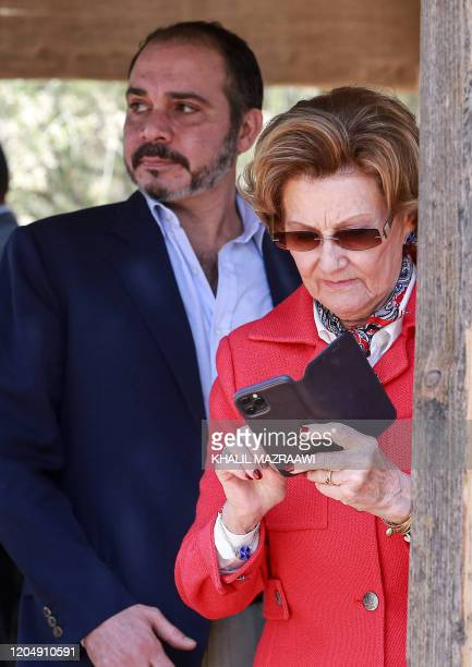 Prince Ali bin Hussein of Jordan and Queen Sonja of Norway visit the baptism site of alMaghtas where Jesus is believed by Christians to have been...