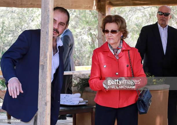 Prince Ali bin Hussein of Jordan Queen Sonja of Norway and King Harald V of Norway visit the baptism site of alMaghtas where Jesus is believed by...
