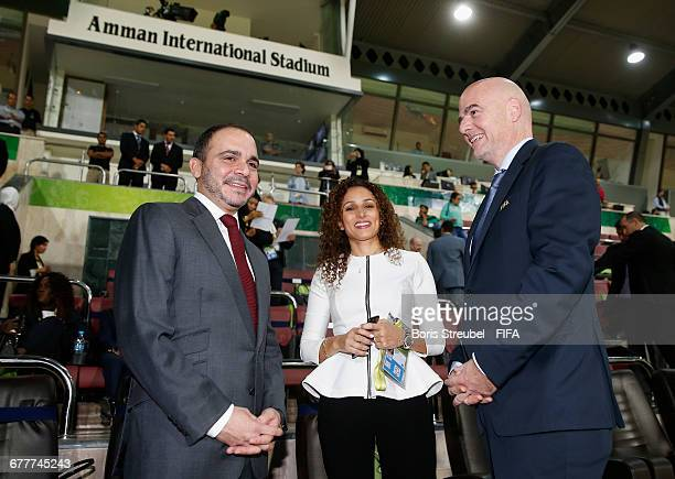 Prince Ali bin Hussein of Jordan Samar Nassar of LOC and FIFA President Gianni Infantino pose prior to the FIFA U17 Women's World Cup Finale match...
