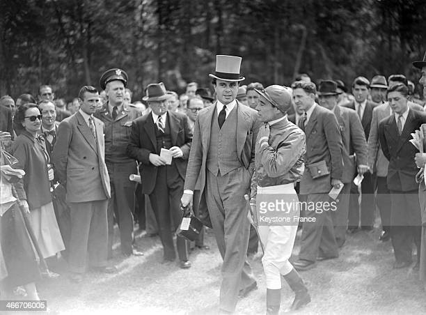 Prince Ali Khan with jockey Rae Johnstone who will mount his horse My Love at Chantilly racecourse before the Prix de Diane horse racing on June 6...