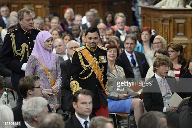 Prince AlMuhtadee Billah of Brunei and wife Sarah during the inauguration ceremony of HM King Willem Alexander and HM Queen Maxima of the Netherlands...