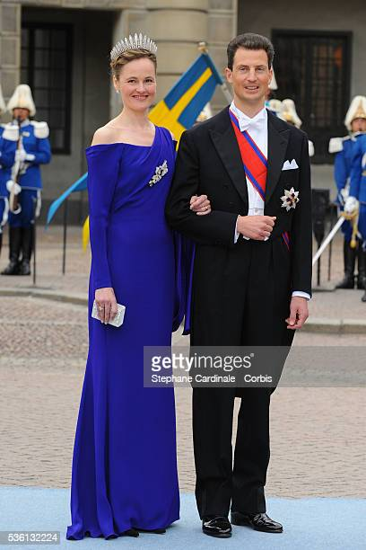 Prince Alois of Liechtenstein and Princess Sophia of Liechtenstein attend the wedding of Crown Princess Victoria of Sweden and Daniel Westling on...