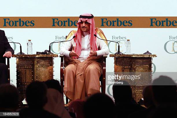 Prince Alwaleed Bin Talal Abdulaziz Al Saud Saudi billionaire speaks at the Forbes Global CEO Conference in Dubai United Arab Emirates on Monday Oct...