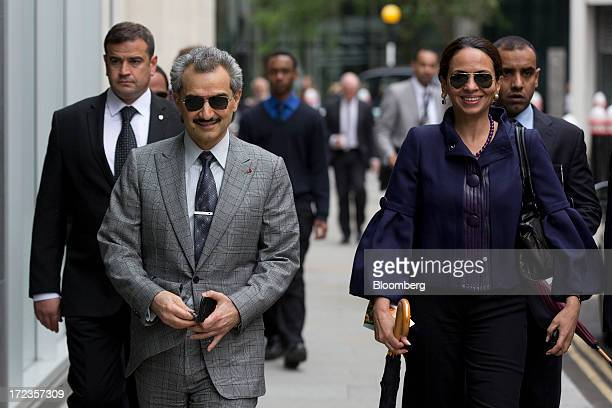 Prince Alwaleed Bin Talal Saudi billionaire and founder of Kingdom Holding Co center arrives to give evidence at the High Court in London UK on...