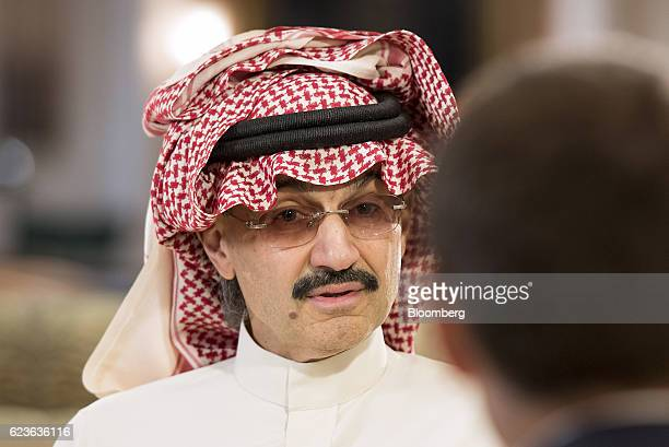 Prince Alwaleed Bin Talal Saudi billionaire and founder of Kingdom Holding Co speaks during a Bloomberg Television interview at the MiSK Global Forum...
