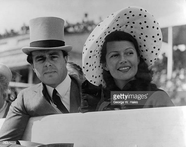 Prince Aly Khan at Epsom races with his wife Hollywood actress Rita Hayworth Original Publication People Disc HF0469