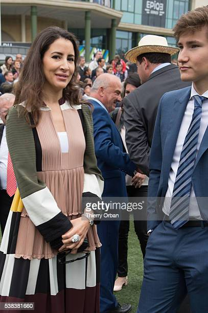 Prince Aly Muhammad Aga Khan and guest attend the parade ring on June 5 2016 in Chantilly France