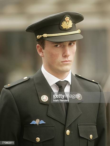 Prince Amadeo from Belgium poses for a picture before taking an oath to become officer, at the Belgian Military School, on September 27, 2007 in the...
