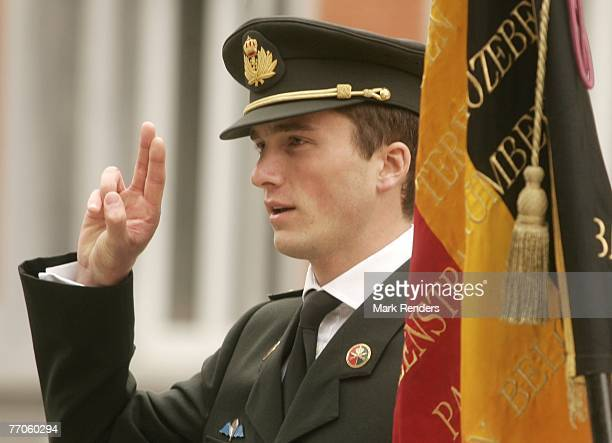 Prince Amadeo from Belgium takes an oath to become officer, at the Belgian Military School, on September 27, 2007 in the Belgian capital Brussels.