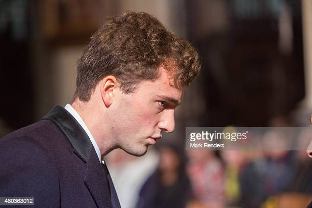 Prince Amadeo of Belgium attends the funeral of Queen Fabiola at Notre Dame Church on December 12 2014 in Laeken Belgium