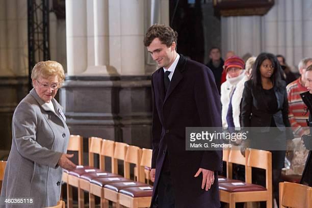 Prince Amadeo of Belgium attends the funeral of Queen Fabiola of Belgium at Notre Dame Church on December 12, 2014 in Laeken, Belgium.