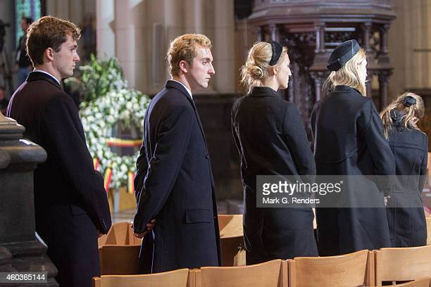 Prince Amadeo Prince Joachim Princess Louisa Maria Princess Elisabette Maria and Princess Maria Laura of Belgium attend the funeral of Queen Fabiola...