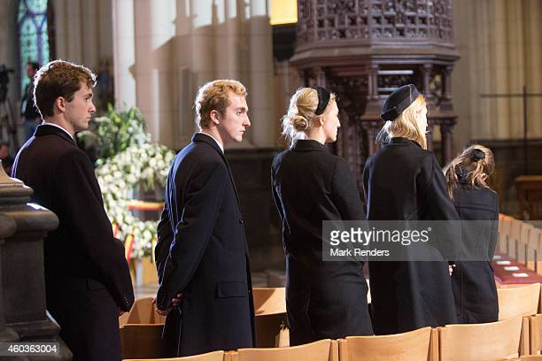 Prince Amadeo Prince Joachim Princess Maria Laura Princess Elisabetta Maria and Princess Louisa Maria of Belgium attend the funeral of Queen Fabiola...
