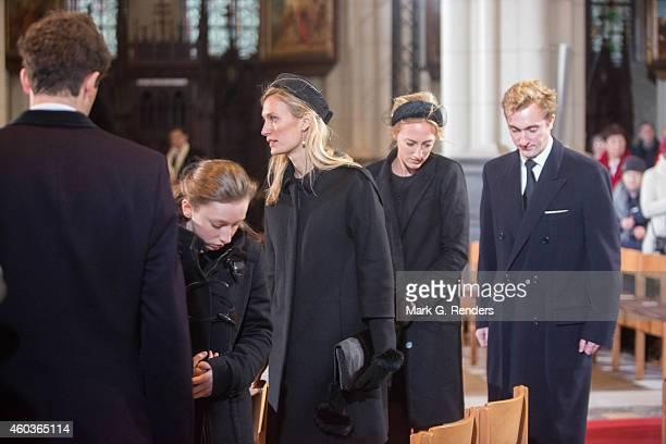 Prince Amadeo, Princess Louisa Maria, Princess Elisabette Maria and Princess Maria Laura of Belgium attend the funeral of Queen Fabiola of Belgium at...