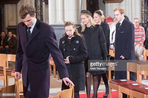 Prince Amadeo Princess Louisa Maria Princess Elisabette Maria Princess Maria Laura of Belgium and Prince Joachim attend the funeral of Queen Fabiola...