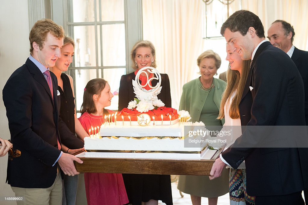 Prince Amadeo, Princess Maria Laura, Princess Laetitia Maria, Princess Astrid, Queen Paola and Prince Joachim of Belgium assist Princess Astrid's 50th birthday at Schonenberg Residence on June 2, 2012 in Brussels, Belgium.