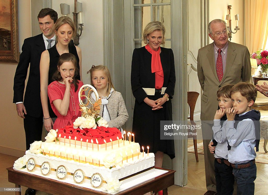 Prince Amadeo, Princess Maria Laura, Princess Luisa Marie, Princess Louise, Princess Astrid, King Albert, Prince Aymeric and Prince Nicolas of Belgium assist Princess Astrid's 50th birthday at Schonenberg Residence on June 2, 2012 in Brussels, Belgium.
