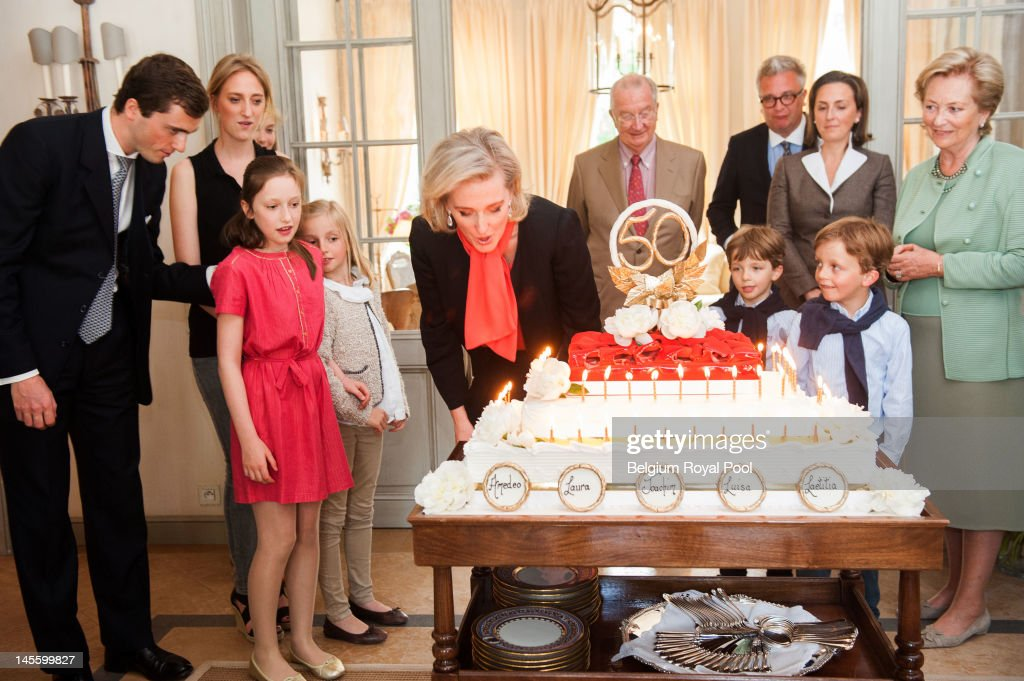Prince Amadeo, Princess Maria Laura, Princess Maria Laetitia, Princess Louise, Princess Astrid, King Albert, Prince Aymeric, Prince Nicolas, Prince Laurent, Princess Claire and Queen Paola of Belgium assist at Princess Astrid's 50th birthday at Schonenberg Residence on June 2, 2012 in Brussels, Belgium.