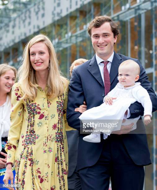 Prince Amedeo and his wife Lili and daughter Anna Astrid of Belgium attend the 80th birthday celebrations of Belgian Queen Paola on June 29 2017 in...