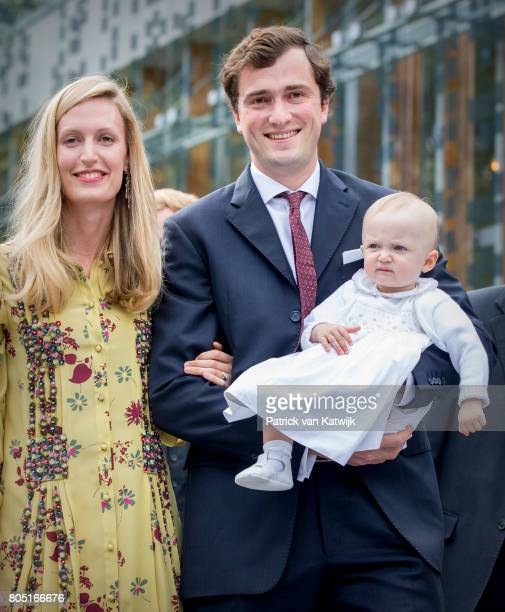 Prince Amedeo and his wife Lili and daughter Anna Astrid of Belgium attend the 80th birthday celebrations of Belgian Queen Paola on June 29, 2017 in...