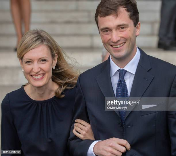 Prince Amedeo of Belgium and Princess Elisabetta leave the mass to remember the 25th anniversary of the death of King Baudouin at Notre Dame Church...