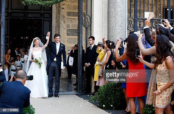 Prince Amedeo of Belgium and Princess Elisabetta Maria celebrate after their wedding ceremony at Basilica Santa Maria in Trastevere on July 5 2014 in...