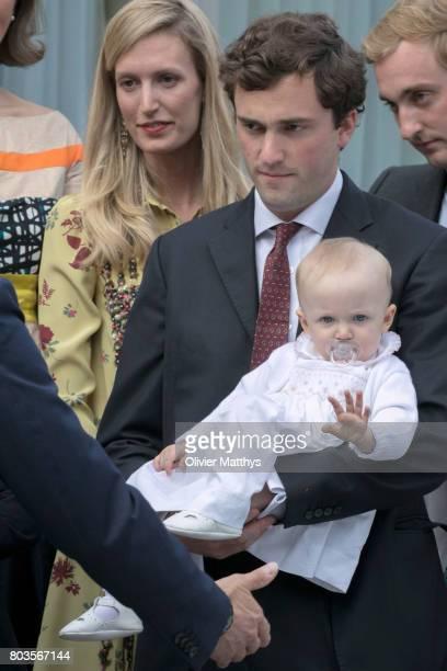 Prince Amedeo of Belgium, Archduke of Austria-Este, his wife Archduchess Elisabetta of Austria-Este and their baby daughter Anna-Astrid van...