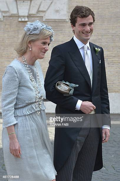 Prince Amedeo of Belgium arrives with his mother Princess Astrid of Belgium at the basilica Santa Maria in Trastevere for his wedding with Elisabetta...